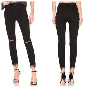 Mother Jeans Black Swooner Dagger Ankle Fray